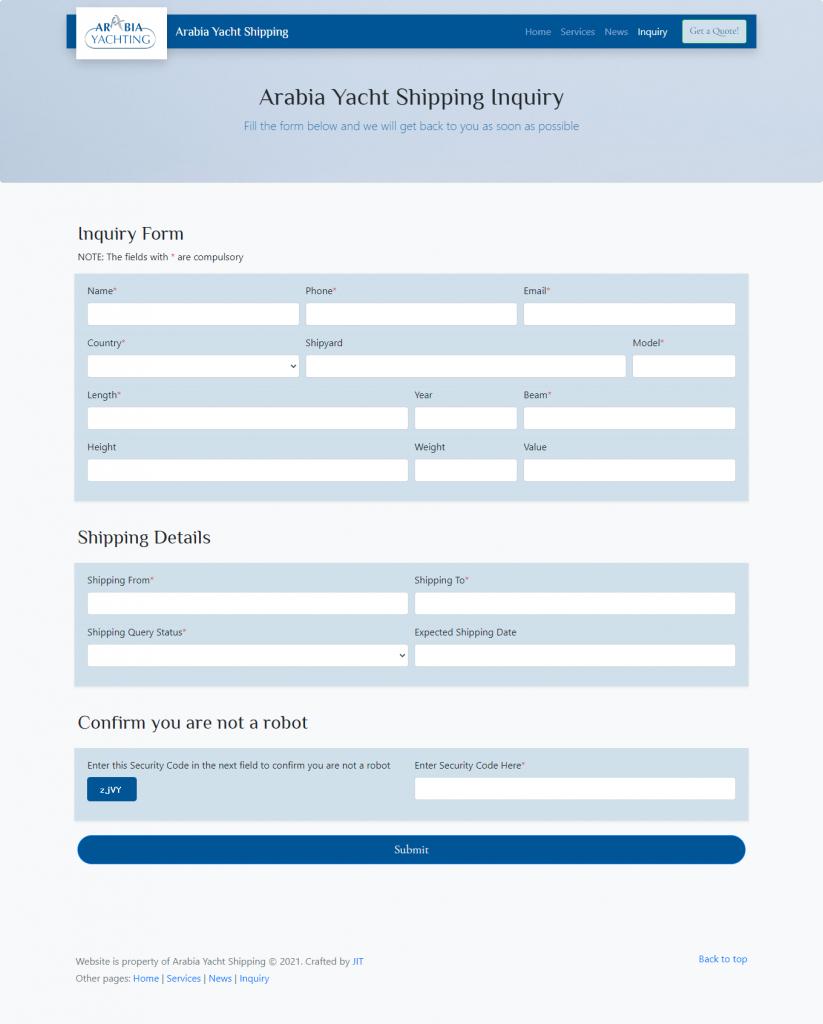 JINT-arabiayachtshipping-inquiry-form-screenshot